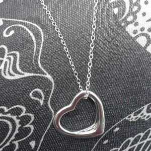 TRENDY Silver HEART Pendant chain Necklace 18""